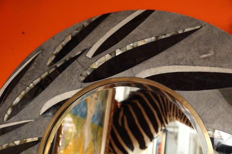 Hand-Crafted Shagreen Mirror with Bronze and Sea Shell Details, Antique Black Shagreen For Sale
