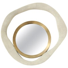 Shagreen Mirror with Bronze Details, Cream Color Shagreen, Organic Shape