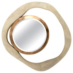 Shagreen Mirror with Bronze-Patina Brass Details by R&Y Augousti