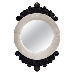 Shagreen Mirror with Bronze-Patina Brass Inlay Work by R&Y Augousti