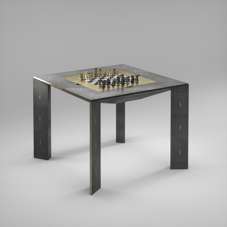 Shagreen Multiple Game Table with Bronze-Patina Brass Accents R&Y Augousti For Sale 4