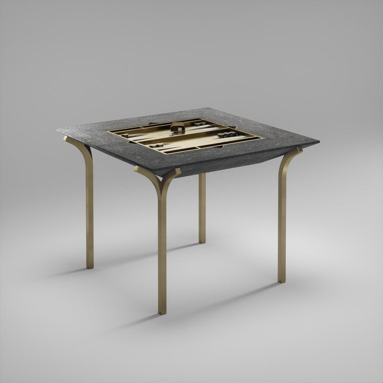 Shagreen Multiple Game Table with Bronze-Patina Brass Accents R&Y Augousti For Sale 8