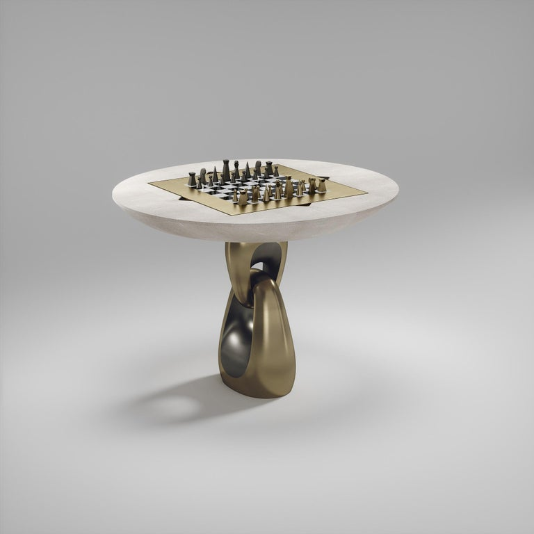 Shagreen Multiple Game Table with Bronze-Patina Brass Accents R&Y Augousti For Sale 11