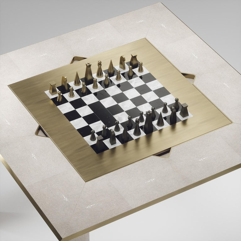 Contemporary Shagreen Multiple Game Table with Bronze-Patina Brass Accents R&Y Augousti For Sale