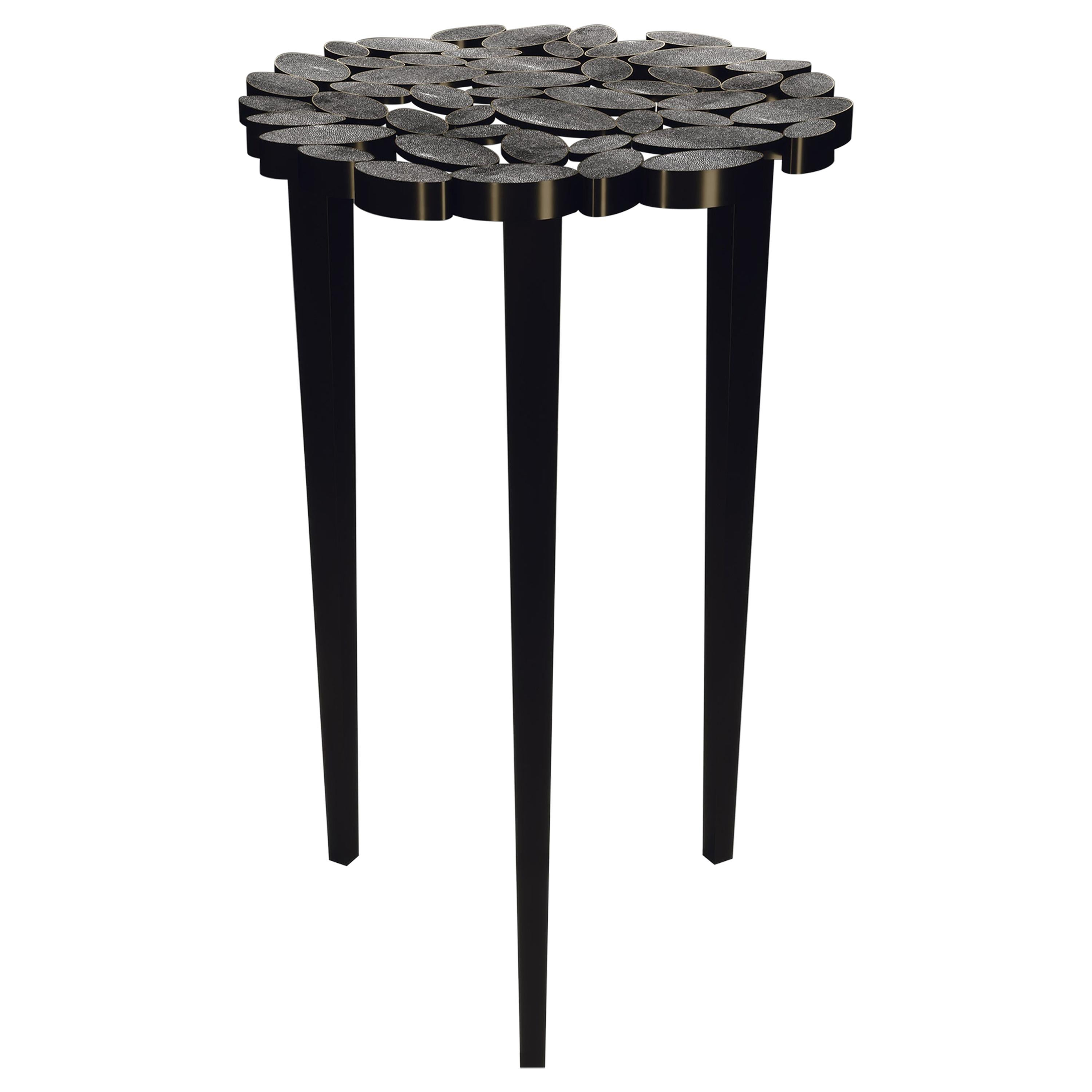 Shagreen Nesting Side Table with Bronze-Patina Brass Accents by R&Y Augousti