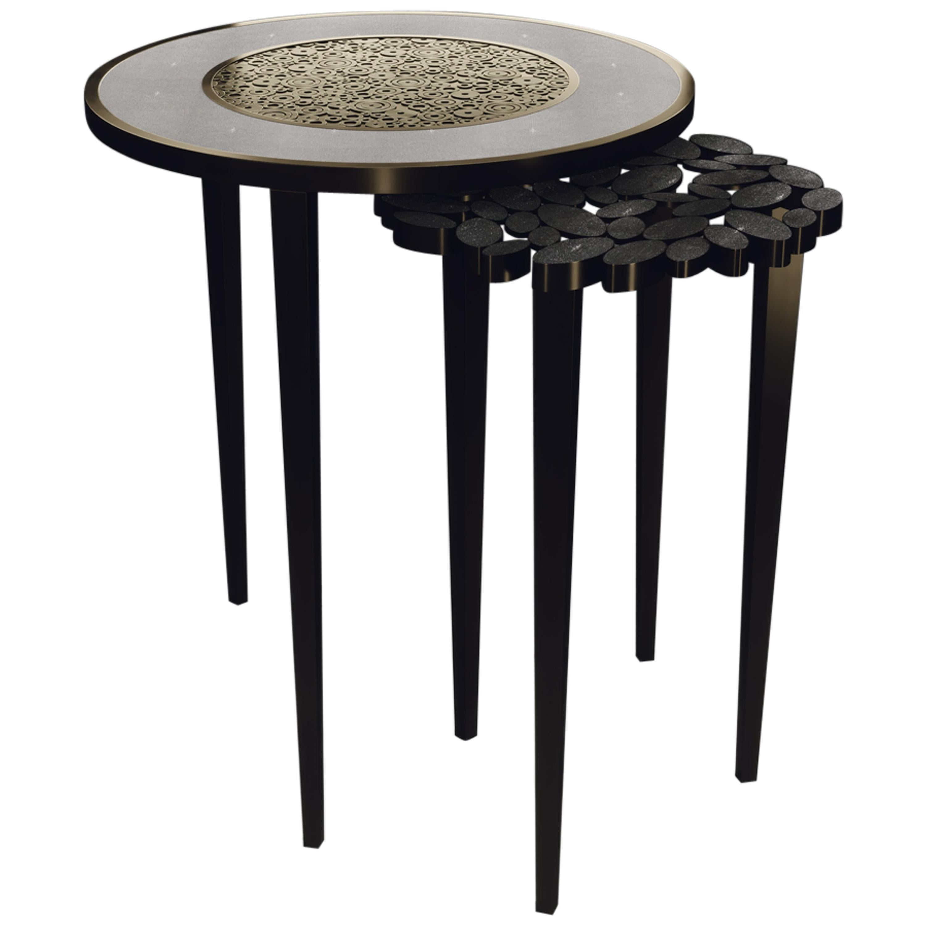 Shagreen Nesting Side Tables with Brass Circle Inlay Details by R&Y Augousti