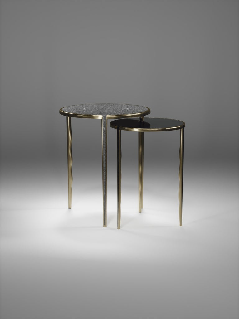 Shagreen Nesting Side Tables with Bronze-Patina Brass Accents by R&Y Augousti For Sale 4