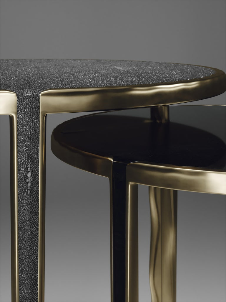 Shagreen Nesting Side Tables with Bronze-Patina Brass Accents by R&Y Augousti For Sale 5