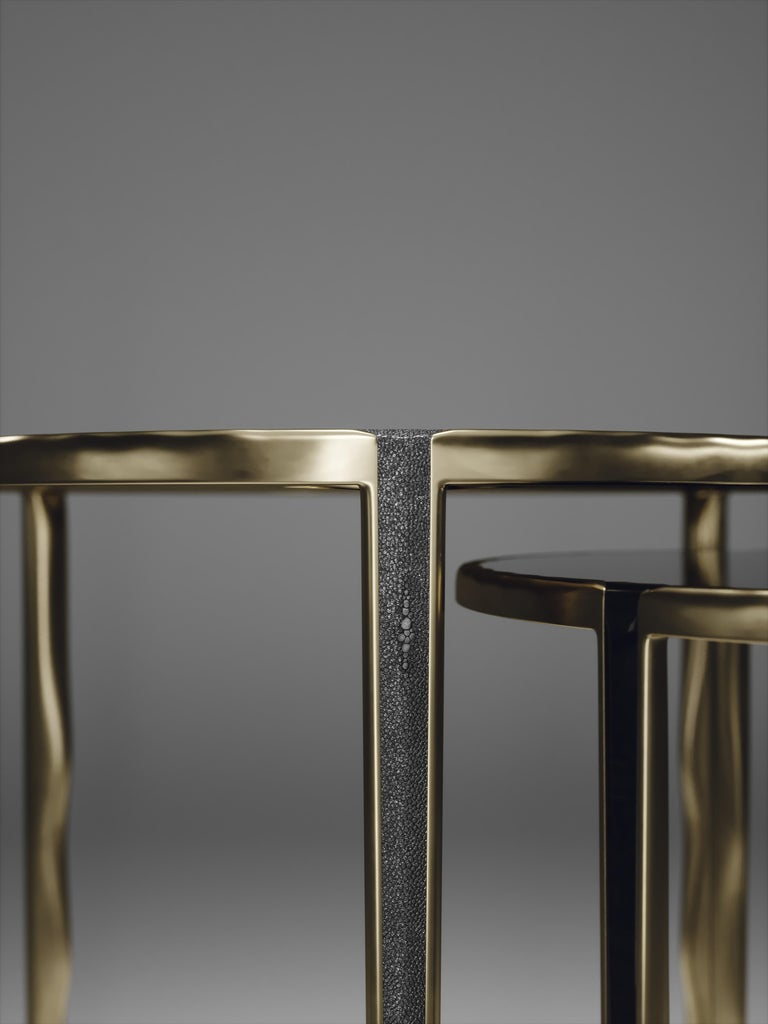 Shagreen Nesting Side Tables with Bronze-Patina Brass Accents by R&Y Augousti For Sale 6