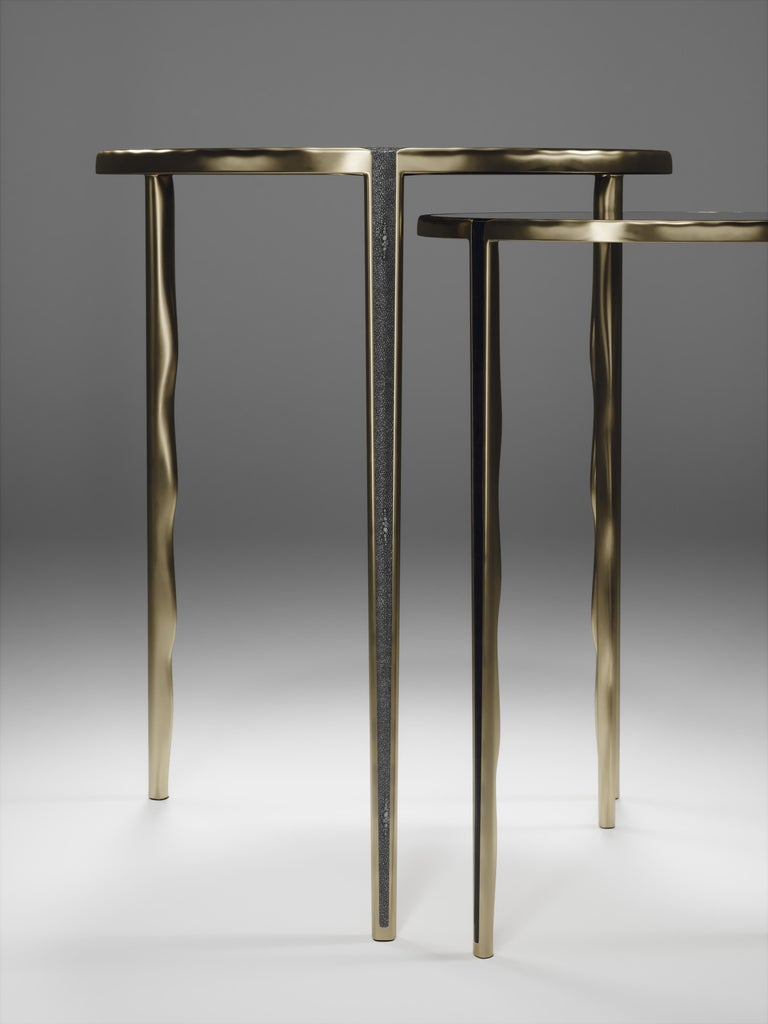 Shagreen Nesting Side Tables with Bronze-Patina Brass Accents by R&Y Augousti For Sale 7