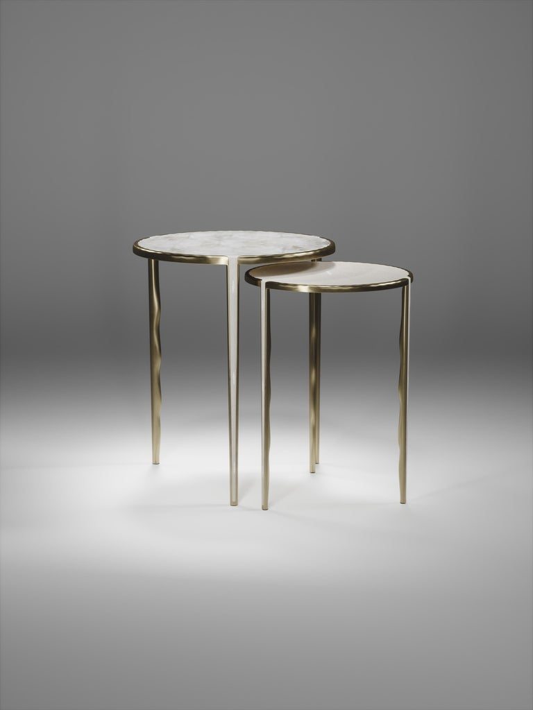 Shagreen Nesting Side Tables with Bronze-Patina Brass Accents by R&Y Augousti For Sale 8