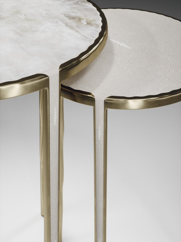 Shagreen Nesting Side Tables with Bronze-Patina Brass Accents by R&Y Augousti For Sale 9