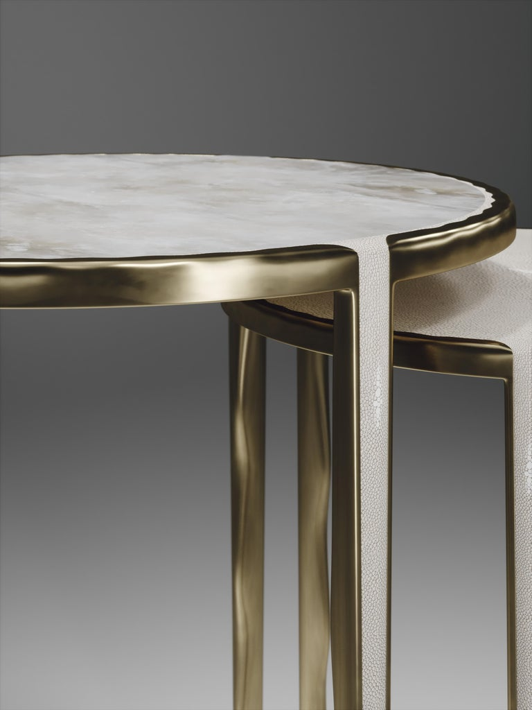 Shagreen Nesting Side Tables with Bronze-Patina Brass Accents by R&Y Augousti For Sale 10