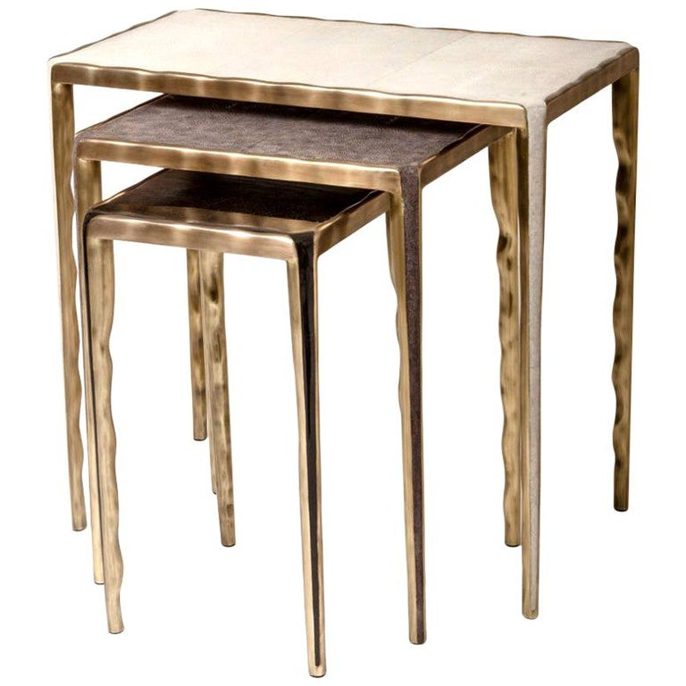 Shagreen Nesting Side Tables with Bronze-Patina Brass Accents by R&Y Augousti For Sale 11