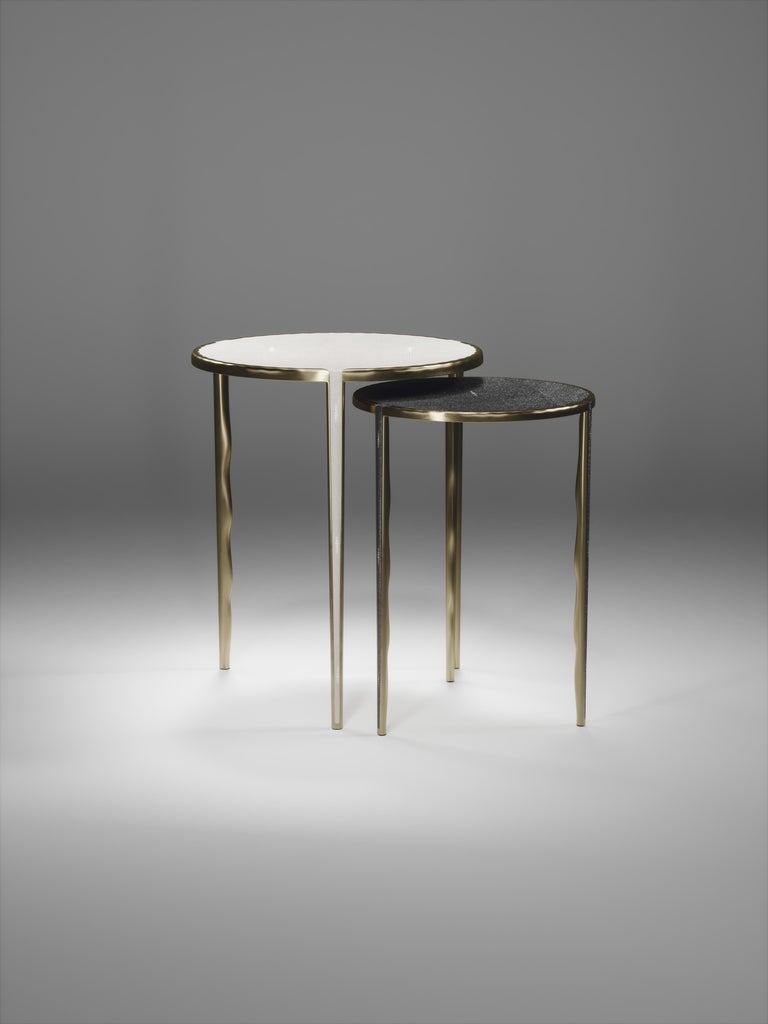 Art Deco Shagreen Nesting Side Tables with Bronze-Patina Brass Accents by R&Y Augousti For Sale