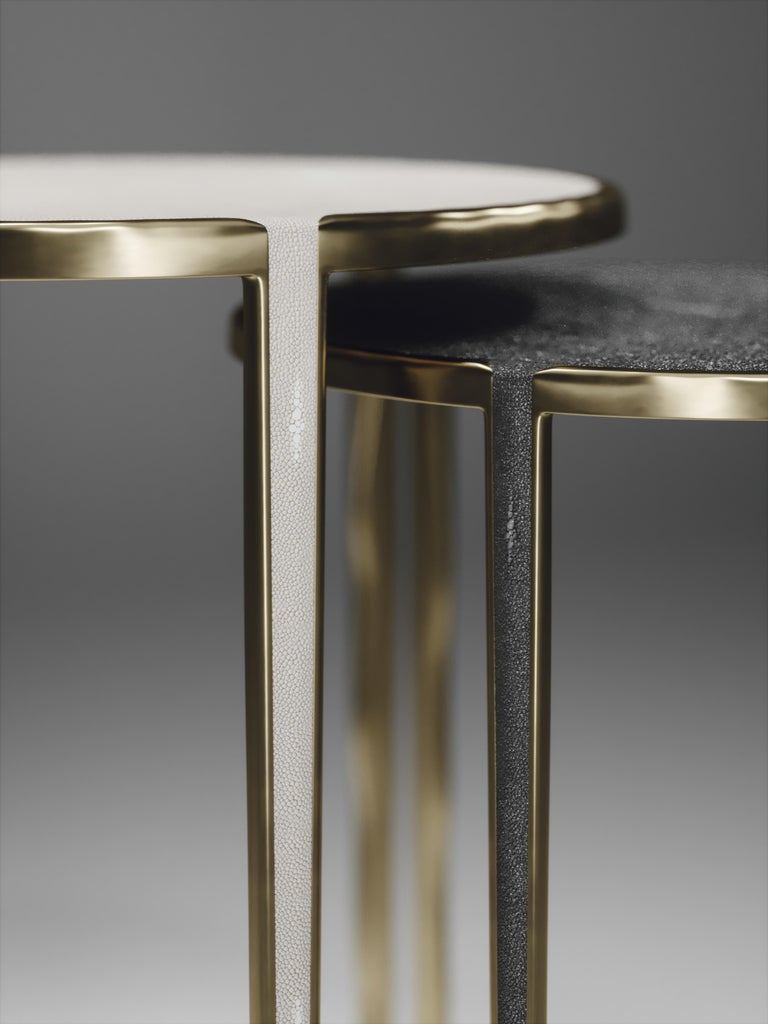 French Shagreen Nesting Side Tables with Bronze-Patina Brass Accents by R&Y Augousti For Sale