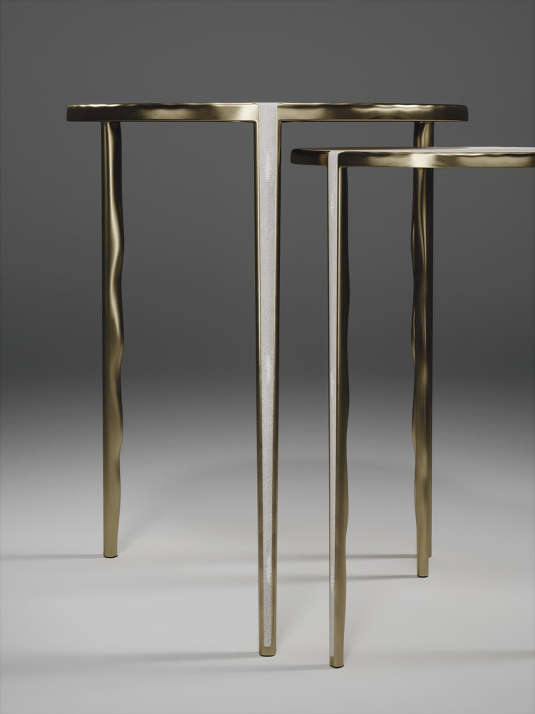 Hand-Crafted Shagreen Nesting Side Tables with Bronze-Patina Brass Accents by R&Y Augousti For Sale