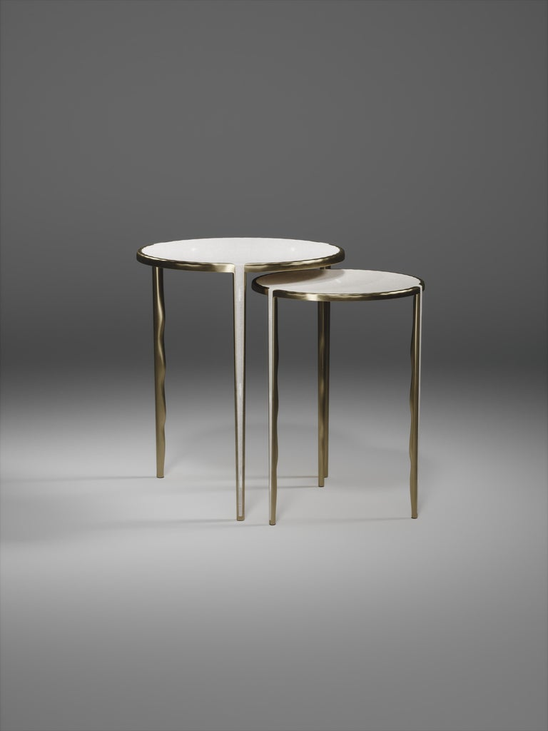 Shagreen Nesting Side Tables with Bronze-Patina Brass Accents by R&Y Augousti In New Condition For Sale In New York, NY