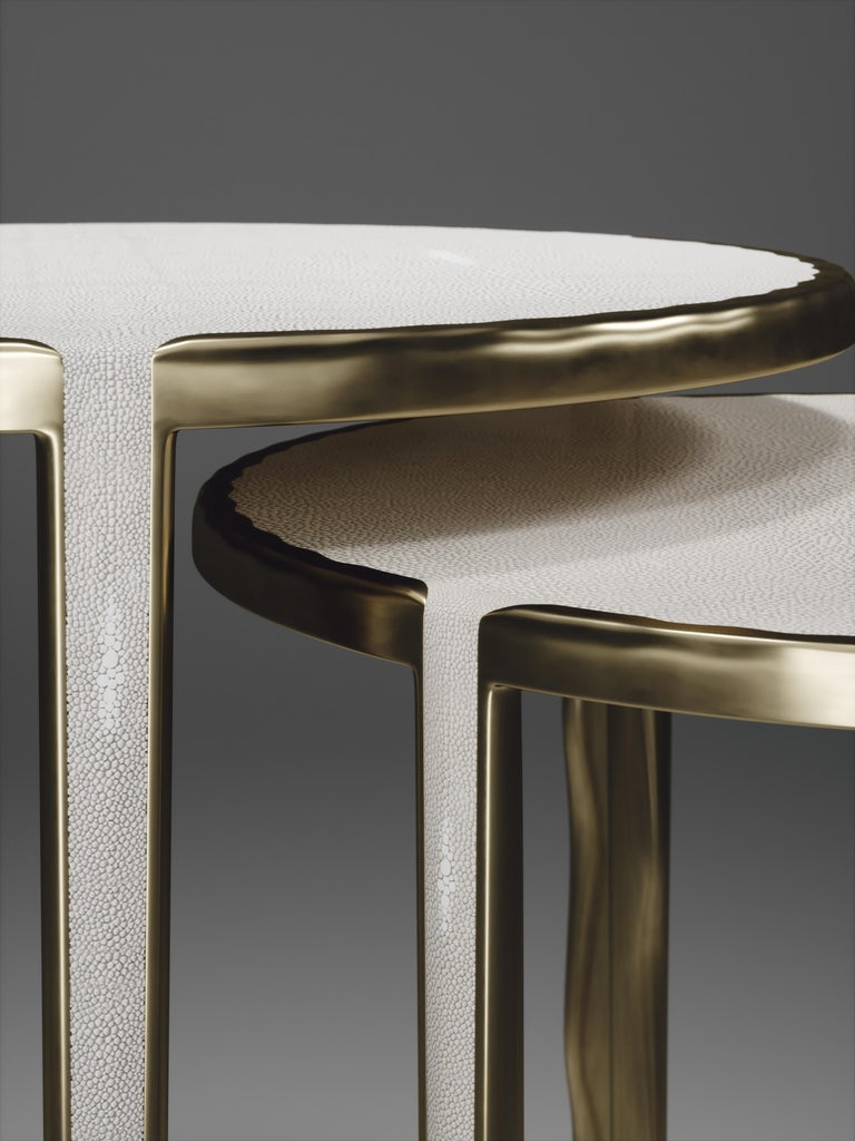 Contemporary Shagreen Nesting Side Tables with Bronze-Patina Brass Accents by R&Y Augousti For Sale