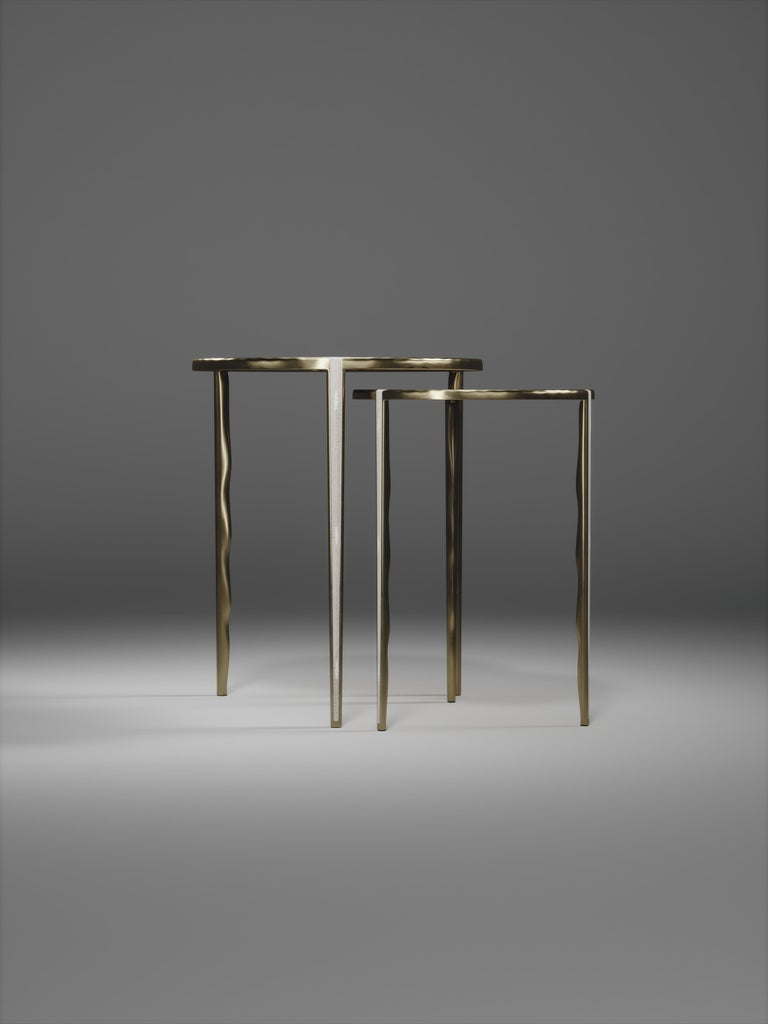 Shagreen Nesting Side Tables with Bronze-Patina Brass Accents by R&Y Augousti For Sale 1