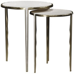 Shagreen Nesting Side Tables with Bronze-Patina Brass Accents by R&Y Augousti