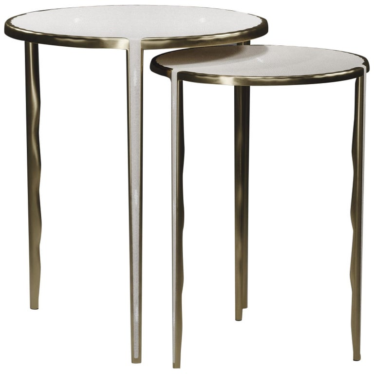 Shagreen Nesting Side Tables with Bronze-Patina Brass Accents by R&Y Augousti For Sale