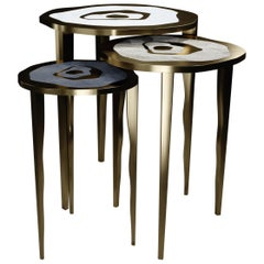 Shagreen Nesting Side Tables with Stone and Bronze-Patina Brass by R&Y Augousti
