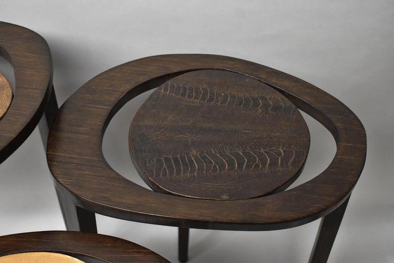 Modern Shagreen Nesting Tables R&Y Augusti Paris For Sale