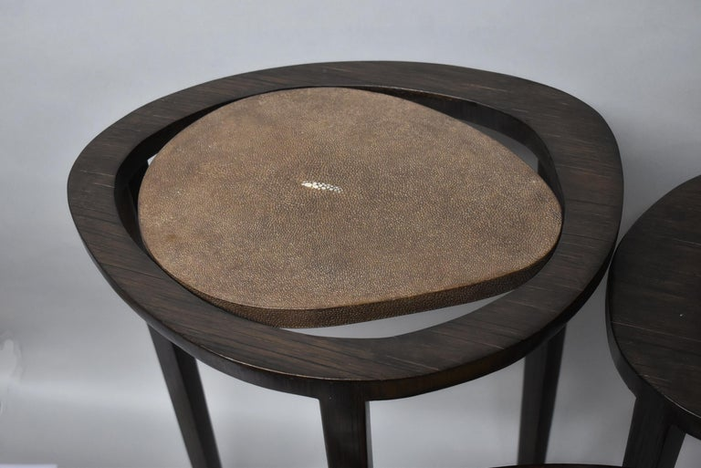 Shagreen Nesting Tables R&Y Augusti Paris In Good Condition For Sale In Toledo, OH