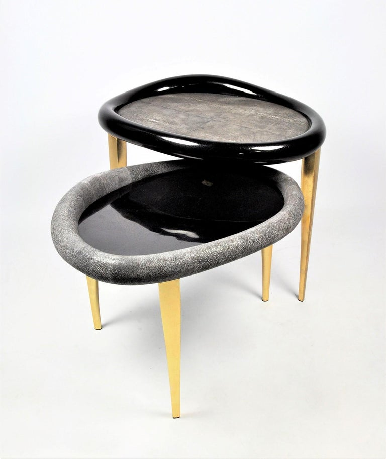 Shagreen Nesting Tables with Shell Marquetry and Parchment Feet by Ginger Brown For Sale 3