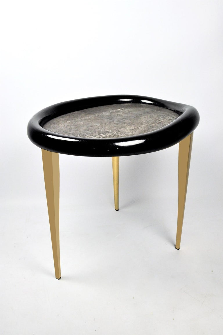 Shagreen Nesting Tables with Shell Marquetry and Parchment Feet by Ginger Brown For Sale 4