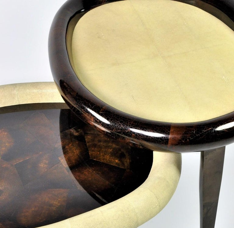 French Shagreen Nesting Tables with Shell Marquetry and Parchment feet by Ginger Brown For Sale