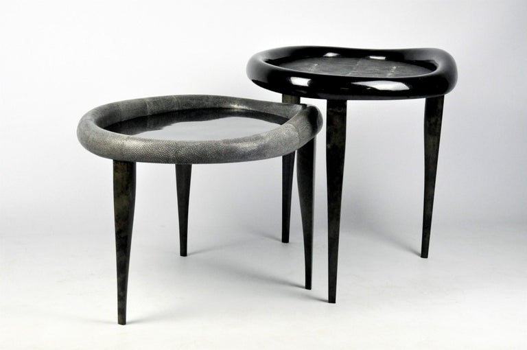 Hand-Crafted Shagreen Nesting Tables with Shell Marquetry and Parchment feet by Ginger Brown For Sale