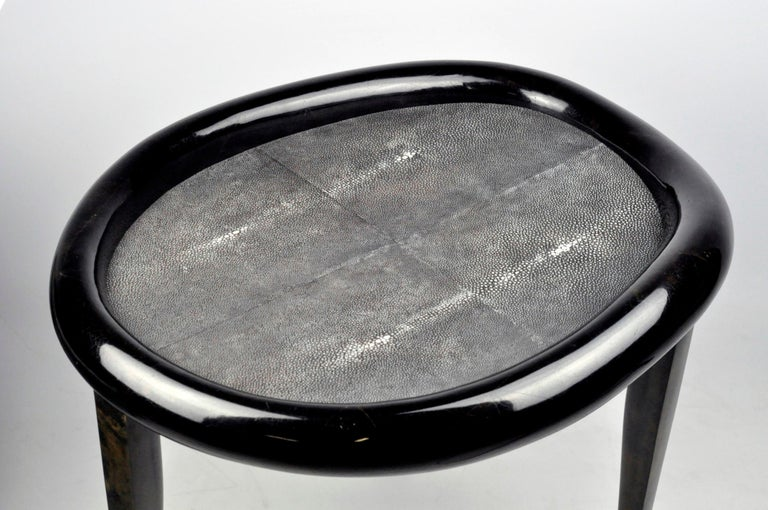 Contemporary Shagreen Nesting Tables with Shell Marquetry and Parchment feet by Ginger Brown For Sale