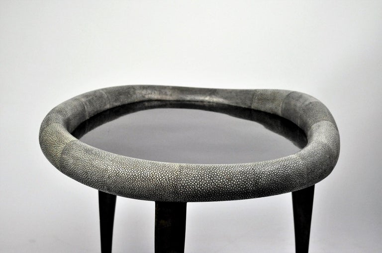 Goatskin Shagreen Nesting Tables with Shell Marquetry and Parchment feet by Ginger Brown For Sale
