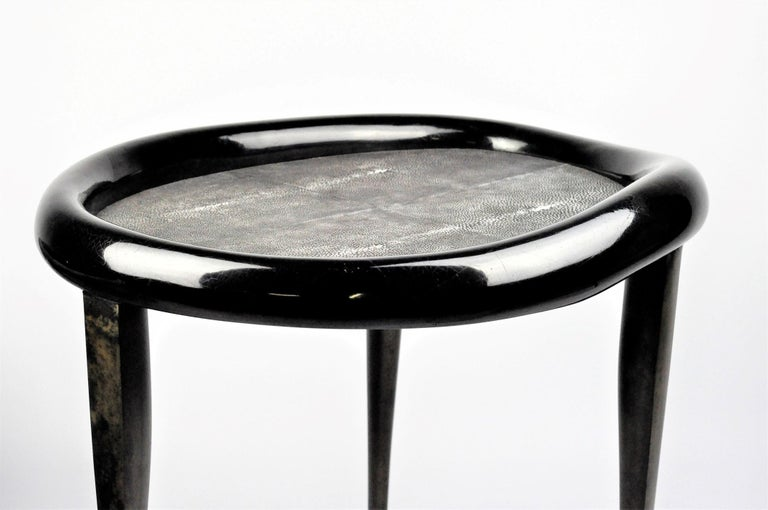Shagreen Nesting Tables with Shell Marquetry and Parchment feet by Ginger Brown For Sale 1