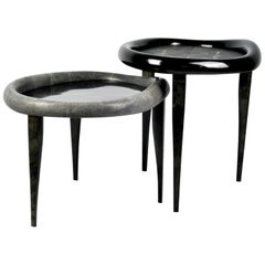 Shagreen Nesting Tables with Shell Marquetry and Parchment Feet by Ginger Brown