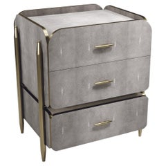 Shagreen Night Stand with Brass Accents by Kifu Paris