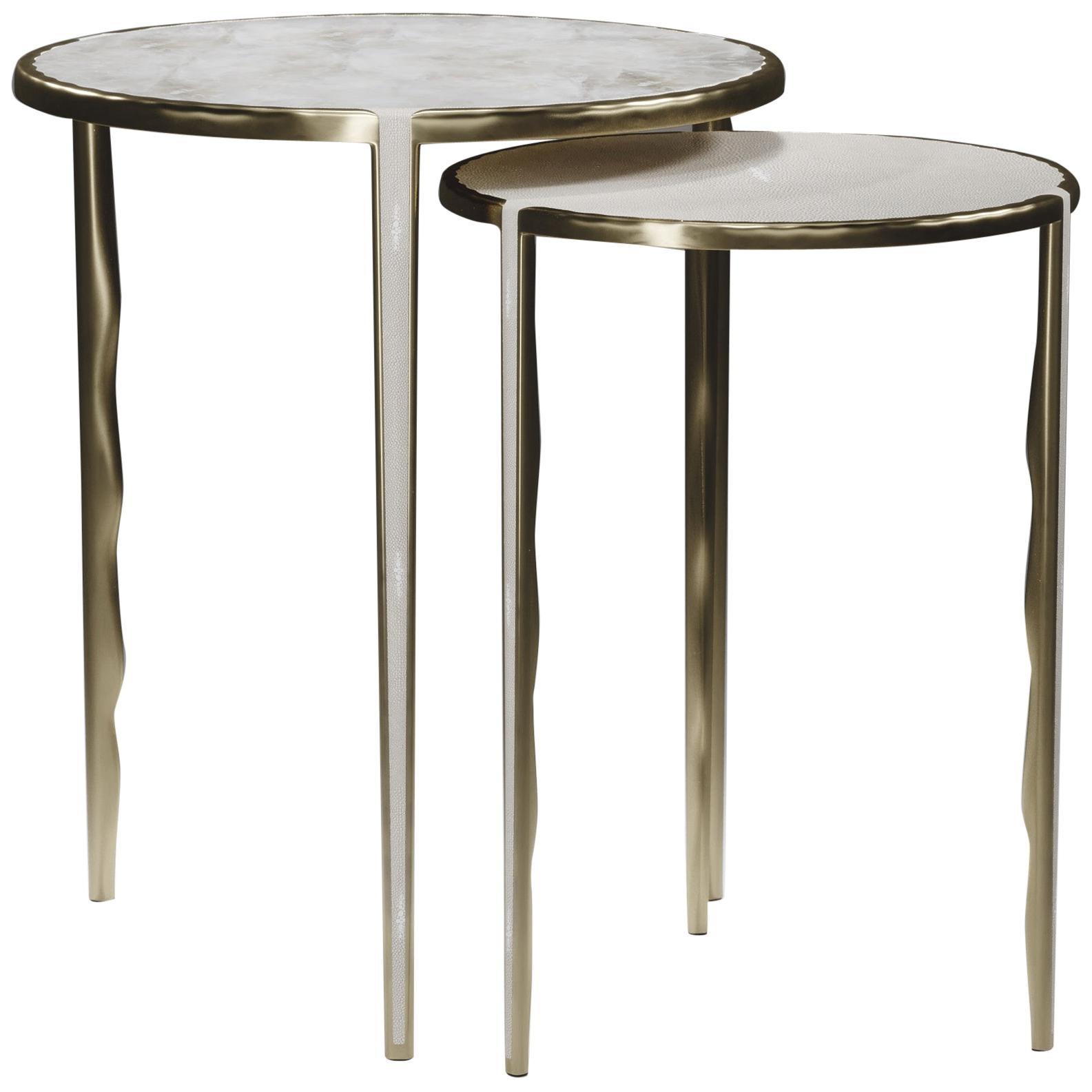 Shagreen & Quartz Nesting Tables w/ Bronze-Patina Brass Accents by R&Y Augousti