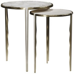 Shagreen & Quartz Nesting Tables w/ Bronze-Patina Brass Accents by R&Y Augousti