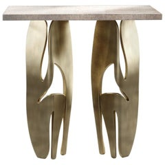 Shagreen Rectangular Side Table with Bronze-Patina Brass Legs by R&Y Augousti