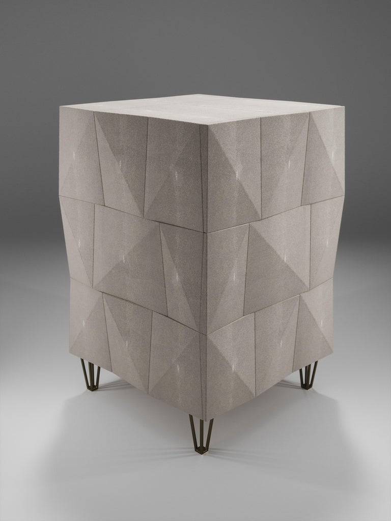 Shagreen Rhomboid Night Stand with Bronze-Patina Brass Legs by R&Y Augousti For Sale 3