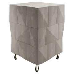 Shagreen Rhomboid Night Stand with Bronze-Patina Brass Legs by R&Y Augousti