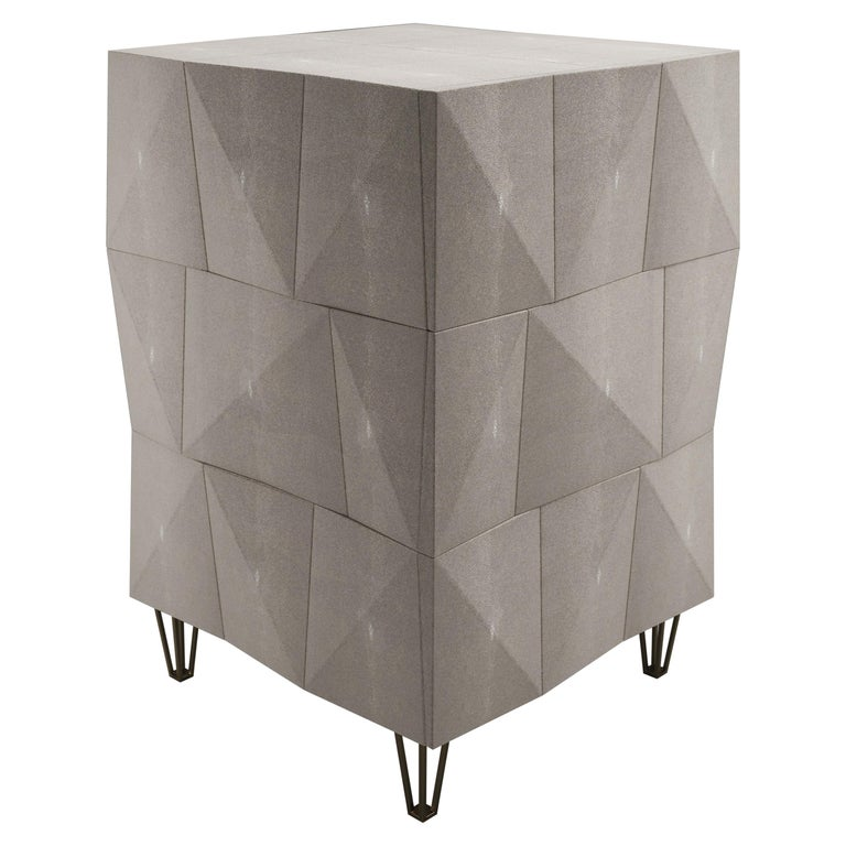 Shagreen Rhomboid Night Stand with Bronze-Patina Brass Legs by R&Y Augousti For Sale