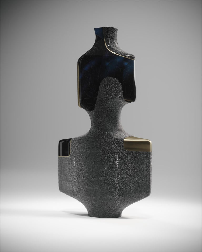 Art Deco Shagreen Sculptural Vase with Pen Shell and Brass Details by R&Y Augousti For Sale