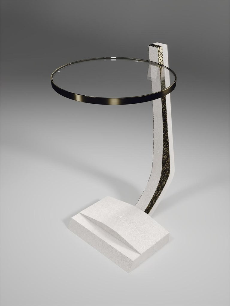 Shagreen Side Table with a Glass Top and Brass Details by R&Y Augousti For Sale 9