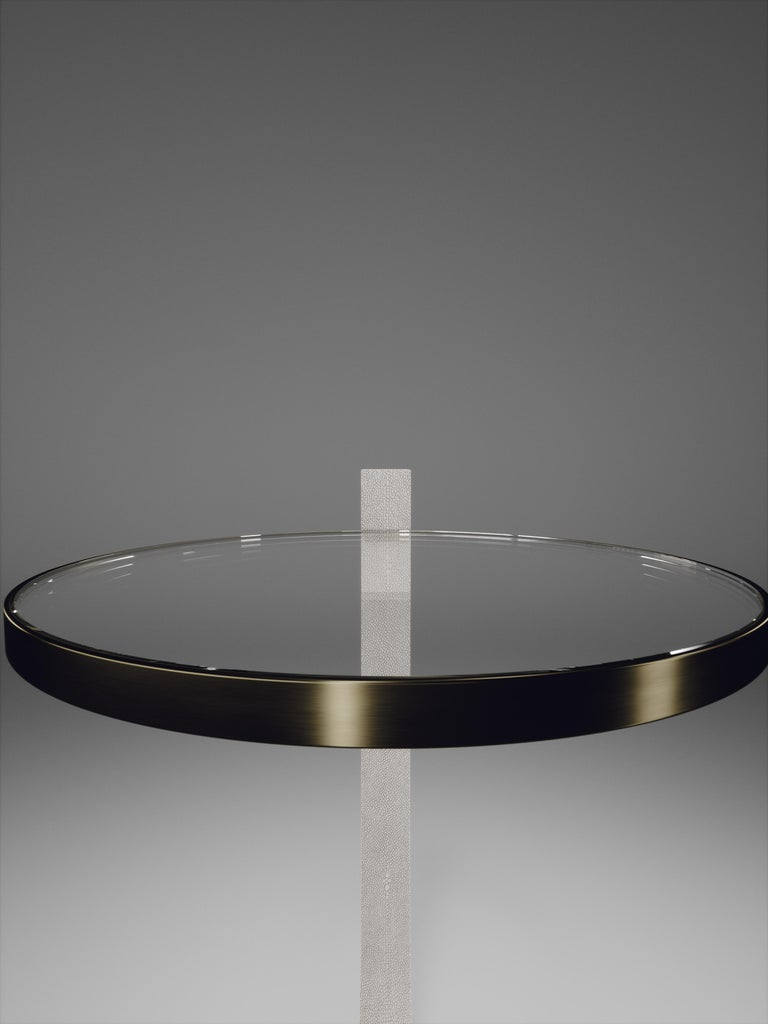 Contemporary Shagreen Side Table with a Glass Top and Brass Details by R&Y Augousti For Sale
