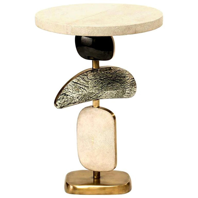 Shagreen Side Table with a Mobile Sculptural Base with Brass Accents, Kifu Paris For Sale