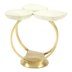 Shagreen Side Table with Brass Base, Cream, Floral Design