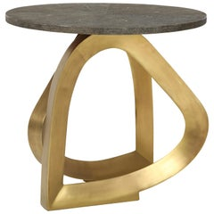Shagreen Side Table with Bronze Base, Khaki Color Shagreen